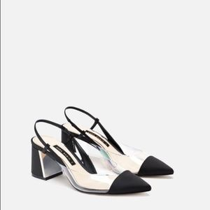 NWT Zara Black and Clear Vinyl Slingback Heels